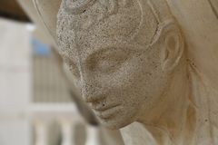 The face of an anthropomorphic figure supporting the fountain bowl. Details of the fountain on the Colonnade on Gagarin Boulevard in Pyatigorsk. The face of an Royalty Free Stock Photos