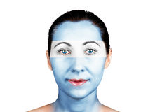 Face with the Argentina flag. Face of a woman with the Argentina flag royalty free stock images