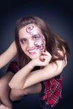 Face Art Concept: Portrait of Caucasian Female With Unique Face Royalty Free Stock Image