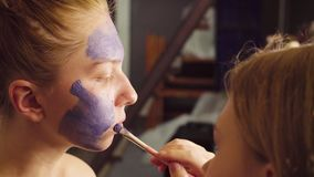 Face art. The make-up artist begining to paint stock footage