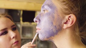 Face art. The make-up artist painting stock video footage