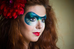 Face-art  portrait of a beautiful  woman Stock Images
