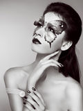 Face art portrait. Manicured nails. Beautiful model posing. Black and white photo stock photo