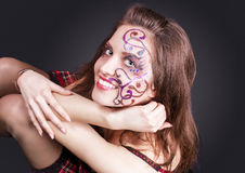 Face Art Project: Sexy Caucasian Brunette Woman In Corset Painte Royalty Free Stock Images