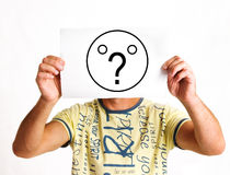 Face as question mark Stock Photography