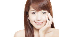 Face asiática bonita da mulher Fotos de Stock
