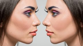 Face of woman before and after retouch Royalty Free Stock Photography