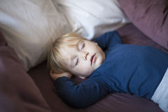 Face baby sleeping between cushions. Portrait of happy blonde caucasian baby nineteen month age with blue shirt sleeping in brown sheets bed between cushions royalty free stock photo