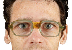 Face in bad old spectacles Royalty Free Stock Image