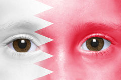Face with bahrain flag Royalty Free Stock Photo