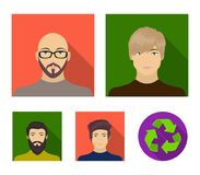 The face of a Bald man with glasses and a beard, a bearded man, the appearance of a guy with a hairdo. Face and. Appearance set collection icons in flat style royalty free illustration