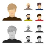 The face of a Bald man with glasses and a beard, a bearded man, the appearance of a guy with a hairdo. Face and. Appearance set collection icons in cartoon stock illustration