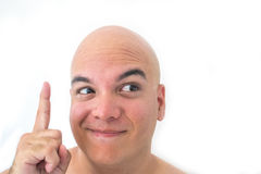 Face of a bald man in white background. Man with a great idea Stock Images