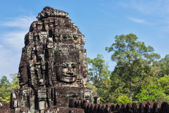 Face of Bayon temple, Angkor, Cambodia royalty free stock images