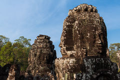 The Face of Bayon Temple. From the vantage point of the temples upper terrace, one is struck by the serenity of the stone faces occupying many towers Royalty Free Stock Photo