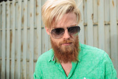 Face of a bearded man looking down Royalty Free Stock Images