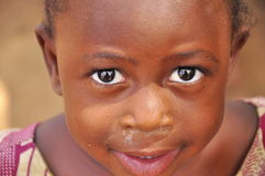 Face of beautiful african little girl. With lovely eyes, west Africa Stock Photography