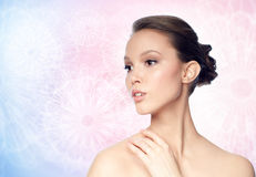 Face of beautiful asian woman with golden ring Royalty Free Stock Photo