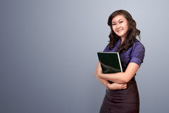 Face of beautiful asian woman holding file Stock Images