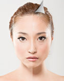 Face of beautiful Asian. Woman before and after retouch, concept of makeup or plastic surgery Royalty Free Stock Photo