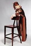 Face of beautiful caucasian  woman in brown dress Stock Image