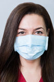 Face of a beautiful dentist woman wearing a mask. Face of a beautiful dentist woman wearing a surgical mask stock image