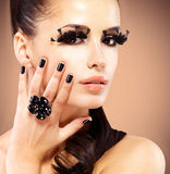 Face of beautiful fashion woman with  black false eyelashes Royalty Free Stock Images