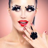 Face of beautiful fashion woman with red sexy lips Stock Images