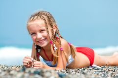 Face of the beautiful girl on a beach Royalty Free Stock Photos