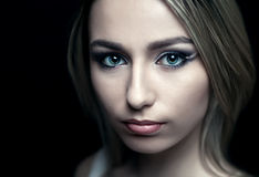 Face of a beautiful girl  on a black background Royalty Free Stock Images
