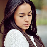 Face of a beautiful girl with eyes closed - close up stock photos