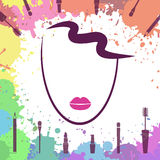 Face of beautiful girl. Fashion icon. Makeup artist. Logo templa Royalty Free Stock Photo