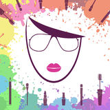 Face of beautiful girl. Fashion icon. Makeup artist. Logo templa Royalty Free Stock Photography