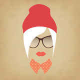 Face of a beautiful girl hipster Stock Images