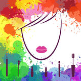 Face of beautiful girl. Makeup artist. Fashion icon. Logo templa Royalty Free Stock Photography