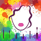 Face of beautiful girl. Makeup artist. Fashion icon. Woman face. Logo template. Make up elements Stock Images