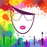 Face of beautiful girl. Makeup artist. Fashion icon. Woman face. Logo template Stock Images