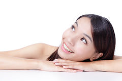 Face of beautiful girl smile looking up Stock Photos