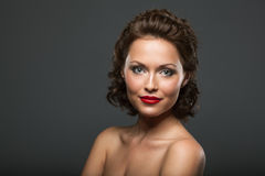 Face of a beautiful brunette woman Royalty Free Stock Image