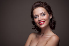 Face of a beautiful sexy brunette woman Stock Images