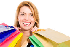 Face of a beautiful smiling shopping woman Stock Photo