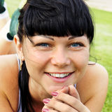 Face of beautiful smiling woman royalty free stock images