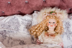 Face of a beautiful vintage doll Stock Photography