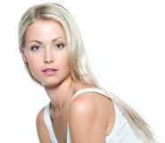 Face of  beautiful  woman. Face of  beautiful young woman with clean skin on a white background Stock Photos