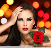 Face of  the  beautiful woman with  bright fashion makeup Royalty Free Stock Photo