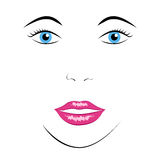 Face of beautiful woman. Close-up, EPS 10 vector illustration, no transparency Stock Image