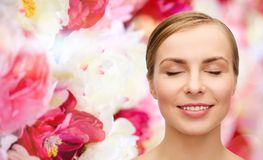 Face of beautiful woman with closed eyes Stock Image
