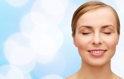 Face of beautiful woman with closed eyes Stock Photography