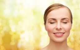 Face of beautiful woman with closed eyes. Health and beauty concept - closeup of face of beautiful young woman with closed eyes Stock Images