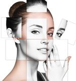 Face of beautiful woman. picture of different parts. plastic surgery royalty free stock image